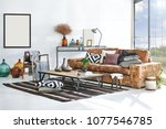 luxury living room and... | Shutterstock . vector #1077546785