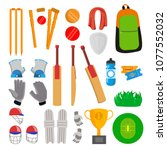 cricket icons set vector.... | Shutterstock .eps vector #1077552032