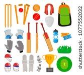cricket icons set vector.... | Shutterstock .eps vector #1077552032