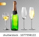 champagne bottle and champagne... | Shutterstock .eps vector #1077558122