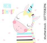 cute little unicorn zebra with... | Shutterstock .eps vector #1077558296