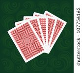 playing cards back sides on... | Shutterstock .eps vector #107756162