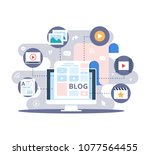 content marketing  blogging and ... | Shutterstock .eps vector #1077564455