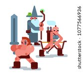 set of flat cute rpg fantasy... | Shutterstock .eps vector #1077566936