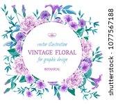vector vintage floral... | Shutterstock .eps vector #1077567188