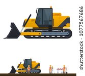 vector crawler tractor ... | Shutterstock .eps vector #1077567686