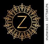 gold frame and letter z ... | Shutterstock .eps vector #1077568196