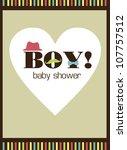 baby boy shower. vector... | Shutterstock .eps vector #107757512
