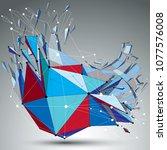 3d vector low poly deformed... | Shutterstock .eps vector #1077576008