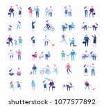 big vector set of... | Shutterstock .eps vector #1077577892