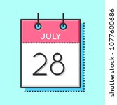 vector calendar icon. flat and... | Shutterstock .eps vector #1077600686