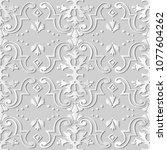3d white paper art spiral curve ... | Shutterstock .eps vector #1077604262