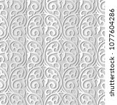 3d white paper art round curve... | Shutterstock .eps vector #1077604286