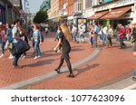Small photo of Dublin, Ireland 09/13/2014- Shoppers and tourists wander along Grafton Street in Dublin.