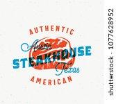 american steakhouse vintage... | Shutterstock .eps vector #1077628952