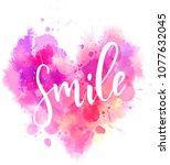 watercolor imitation heart... | Shutterstock .eps vector #1077632045