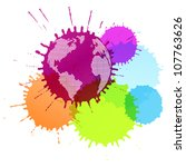 Colorful splashes vector background with globe concept - stock vector
