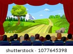 people sitting in cinema... | Shutterstock .eps vector #1077645398