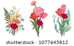 three bouquets red  pink ... | Shutterstock .eps vector #1077645812