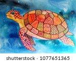 Funny  Bright Sea Turtle With ...