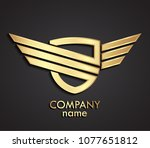 3d golden linear shape winged... | Shutterstock .eps vector #1077651812