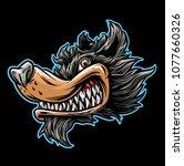 vector cartoon of wolf object... | Shutterstock .eps vector #1077660326