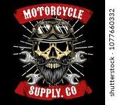 skull with beard motorcycle... | Shutterstock .eps vector #1077660332