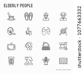 elderly people thin line icons... | Shutterstock .eps vector #1077663332