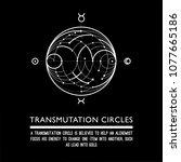 transmutation circle. black... | Shutterstock .eps vector #1077665186