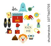 april fools day icons set in... | Shutterstock .eps vector #1077665705