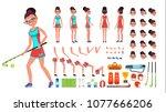 field hockey player female....   Shutterstock . vector #1077666206