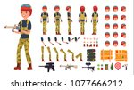 paintball player male. animated ...   Shutterstock . vector #1077666212