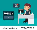 office worker sitting at his... | Shutterstock .eps vector #1077667622
