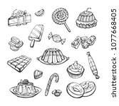 vector collection of sweets ... | Shutterstock .eps vector #1077668405