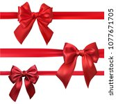set of red beautiful satin bows ... | Shutterstock .eps vector #1077671705