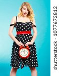 management time concept. blonde ...   Shutterstock . vector #1077672812