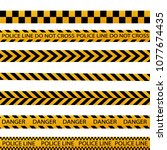 black and yellow police stripe... | Shutterstock .eps vector #1077674435