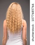 female long wavy blonde hair ... | Shutterstock . vector #1077685766