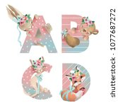 cute watercolor alphabet with... | Shutterstock . vector #1077687272