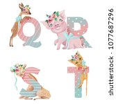 cute watercolor alphabet with...   Shutterstock . vector #1077687296