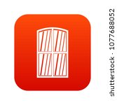 wooden window icon digital red... | Shutterstock . vector #1077688052