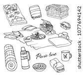 hand sketched  picnic outline... | Shutterstock .eps vector #1077694142
