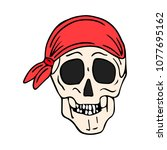 skull with bandana vector... | Shutterstock .eps vector #1077695162