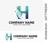 abstract letter h and dna...   Shutterstock .eps vector #1077700205