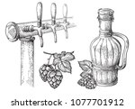 beer tap hops and bottle... | Shutterstock .eps vector #1077701912