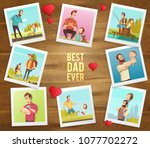 dad day composition on wooden...   Shutterstock .eps vector #1077702272