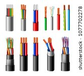 various types power cables with ... | Shutterstock .eps vector #1077702278