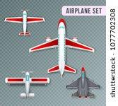airplane passenger propeller... | Shutterstock .eps vector #1077702308