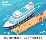 ferry terminal with modern... | Shutterstock .eps vector #1077708668
