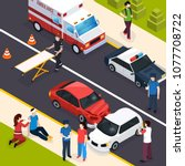 emergency team isometric... | Shutterstock .eps vector #1077708722